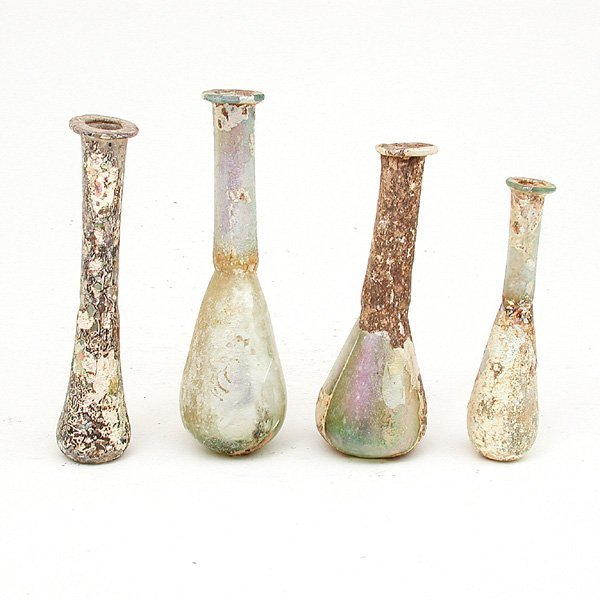 4: 4 Roman Glass Vials