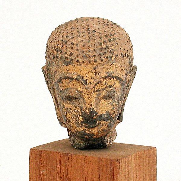 17: Southeast Asian Gilded Bronze Buddha Head