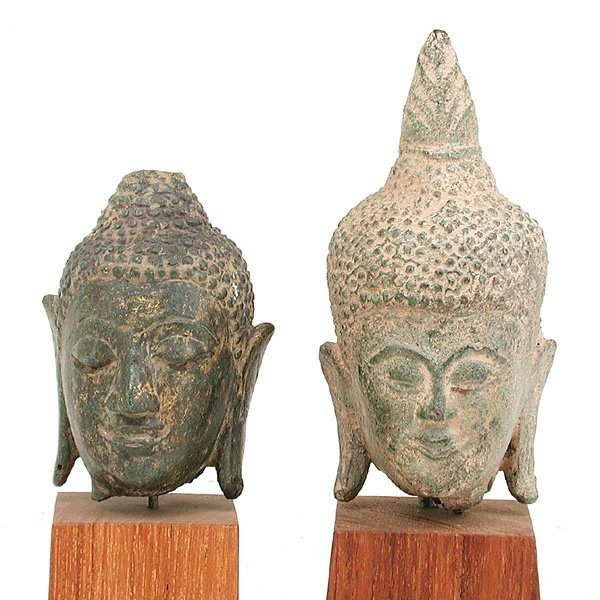 18: 2 Southeast Asian Bronze Buddha heads.