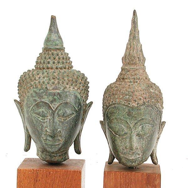 19: 2 Southeast Asian Bronze Buddha Heads