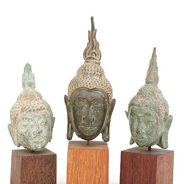 20: 3 Southeast Asian Bronze Buddha Heads