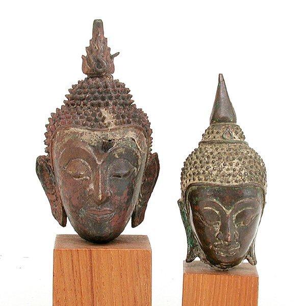 21: 2 Southeast Asian Bronze Buddha Heads