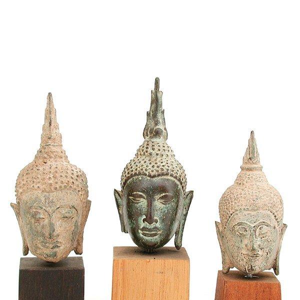 22: 3 Southeast Asian Bronze Buddha Heads