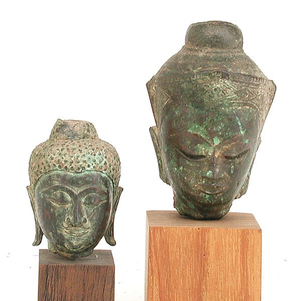 23: 2 Southeast Asian Bronze Buddha Heads