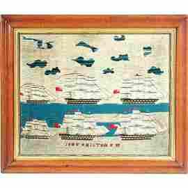 115: 18th/19th Century English Wool Work, 6 Ships