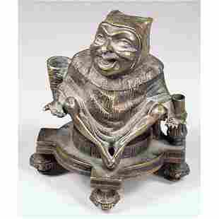 Bronze Jester Inkwell.