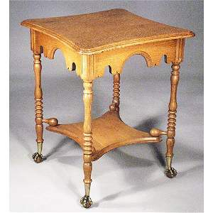 6: Oak Victorian Lamp Table.