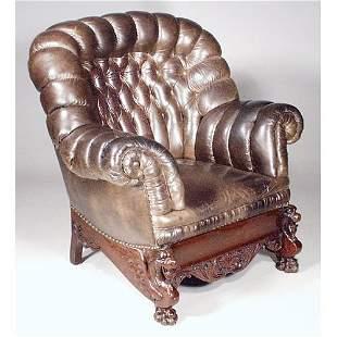 Att. Horner Carved Base Turkish Chair.
