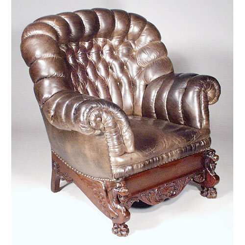 13: Att. Horner Carved Base Turkish Chair.