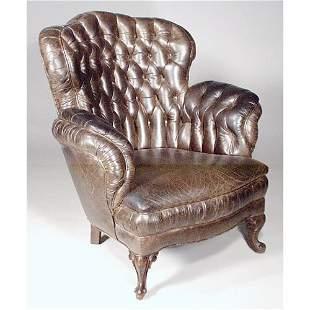 Leather Turkish Tufted Armchair.