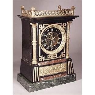 Marble Egyptian Revival Mantle Clock.