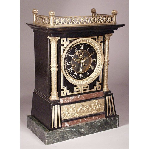 17: Marble Egyptian Revival Mantle Clock.
