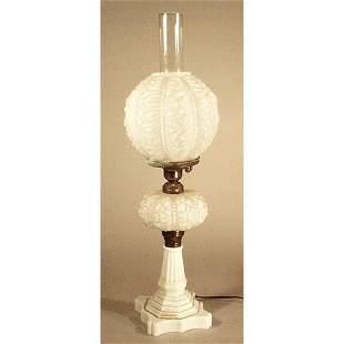 Victorian Milk Glass Lamp.