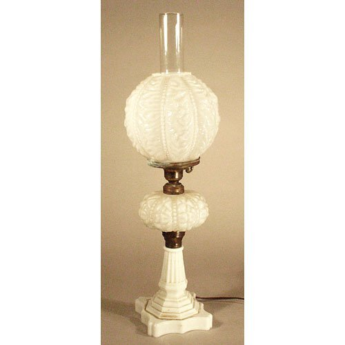 21: Victorian Milk Glass Lamp.