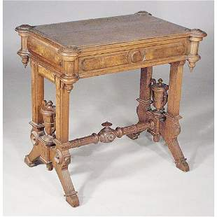 Victorian Walnut Sewing Table.