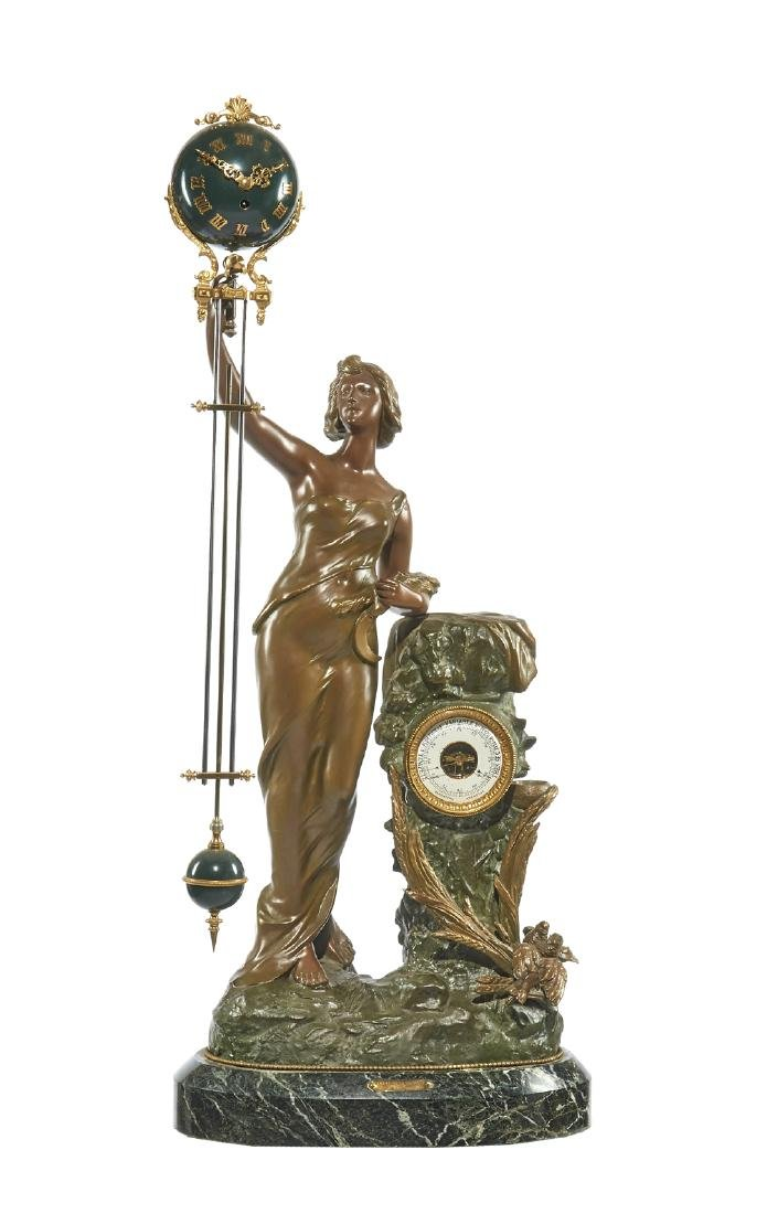 Victorian swinger clock, painted white metal on green