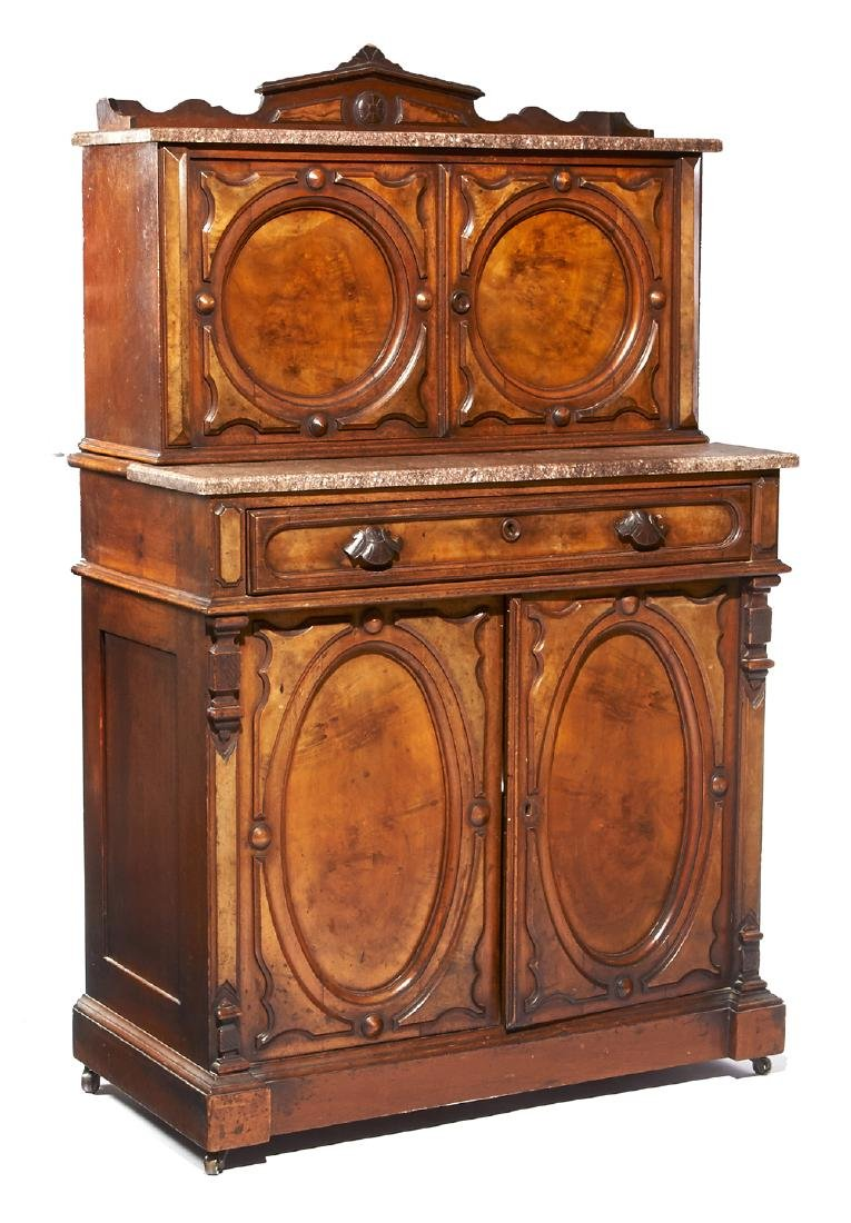 Victorian walnut cabinet with marble top, c. 1880.