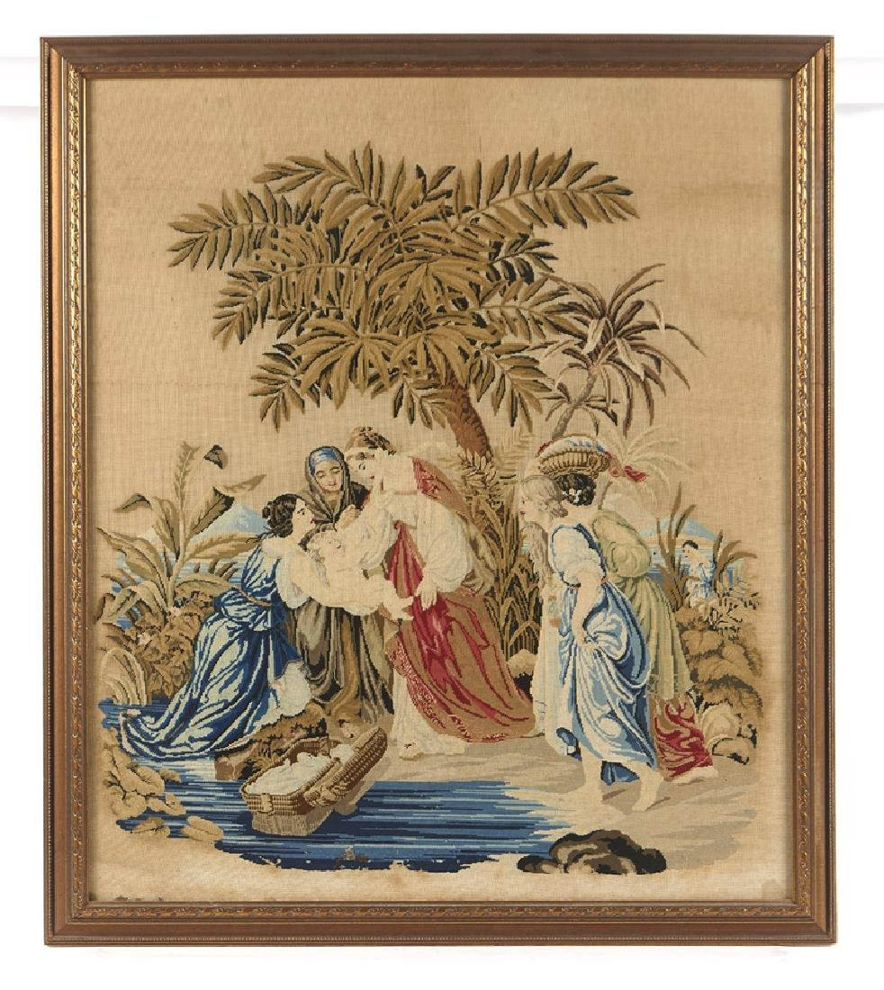 19th c Victorian needlepoint, Moses and Pharaoh's
