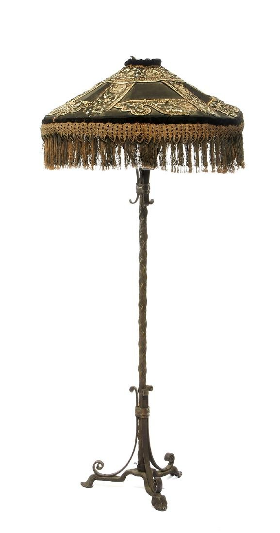 Wrought Iron floor lamp with fringed silk shade
