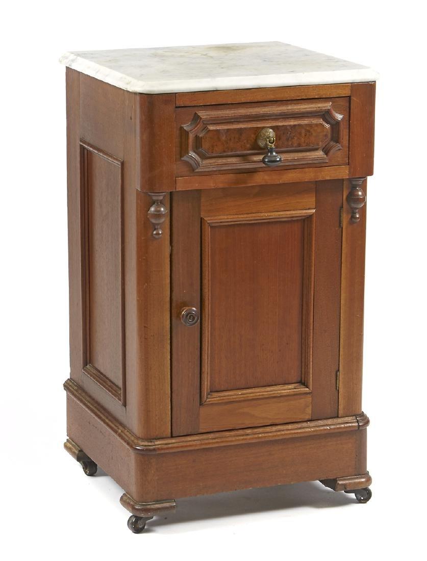 Victorian walnut marble top night stand
