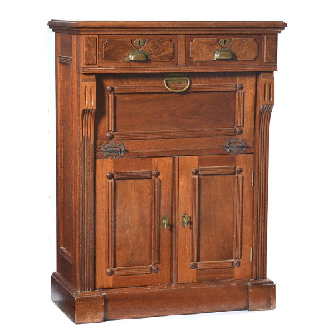Rare Victorian American Walnut Barbershop Cabinet