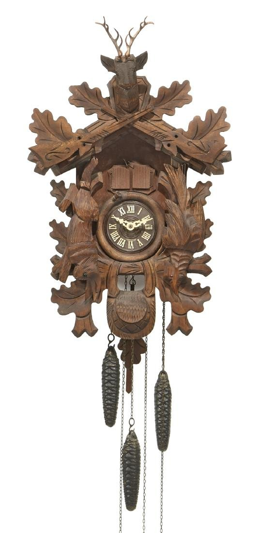 Early 20th c Black Forest cuckoo clock, musical