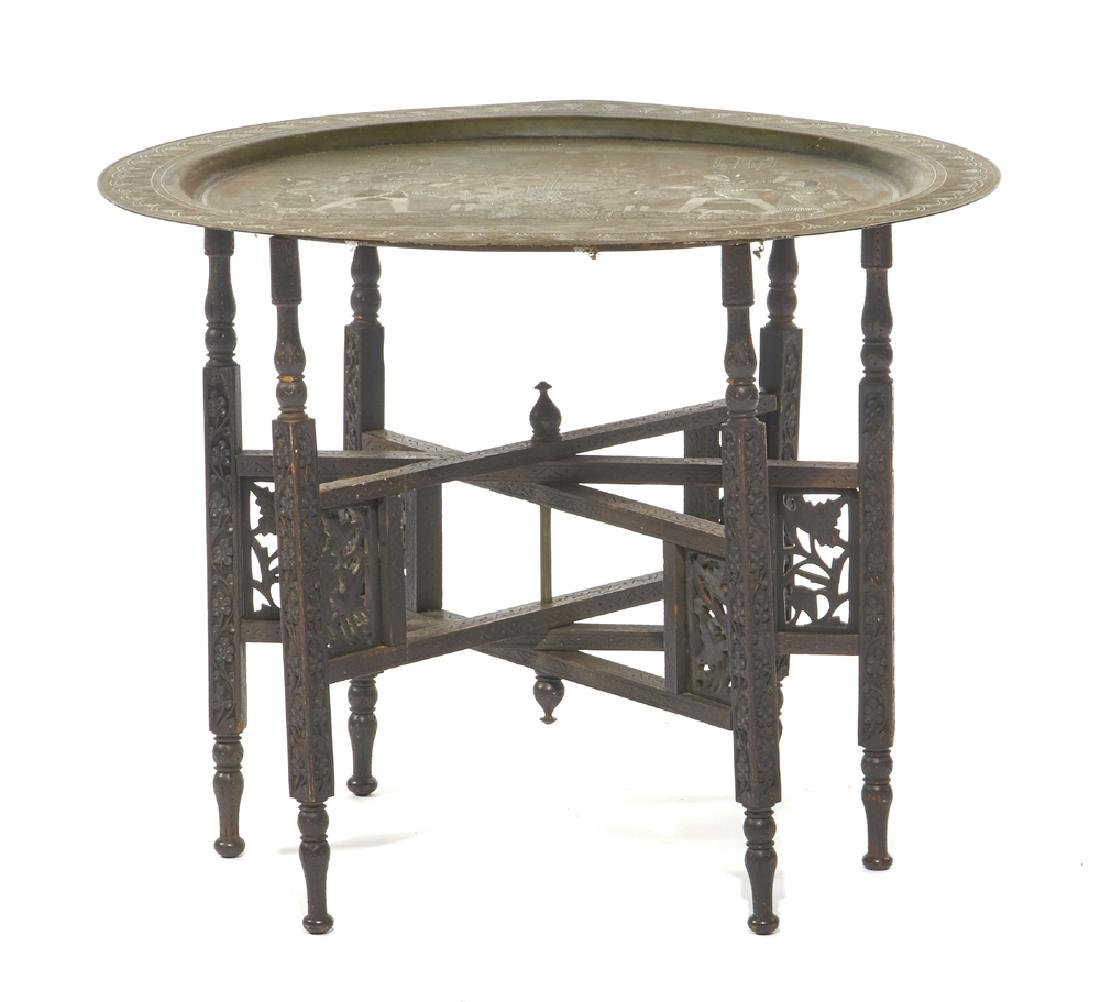 Egyptian bronze tabouret table with collapsible base