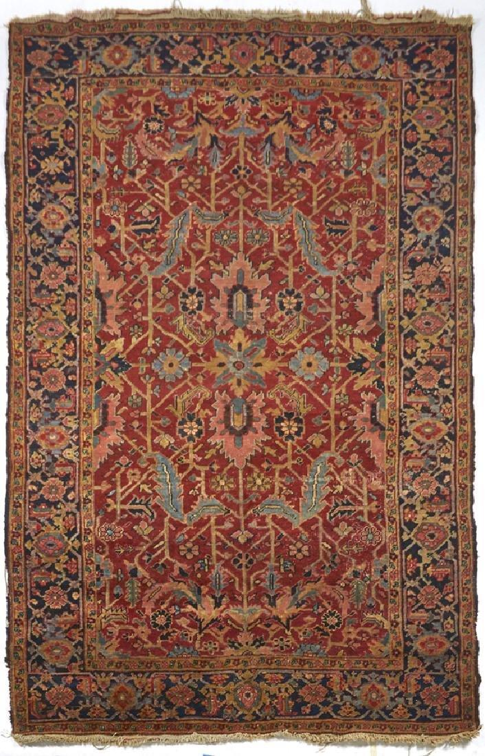 """Antique Heriz carpet, appx 9'6"""" x 6'"""