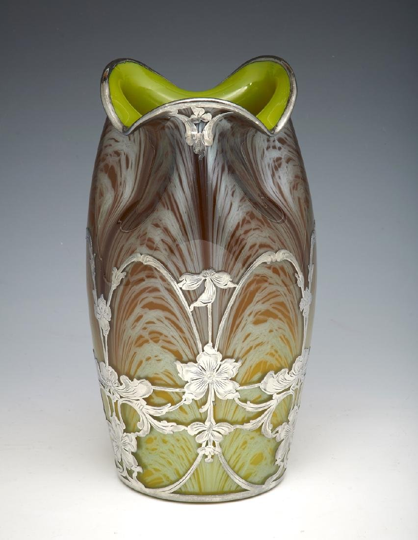 "Loetz ""La Pierre"" sterling overlay art glass vase"