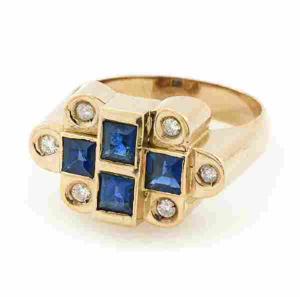 14k Yellow gold, sapphire and diamond ring.