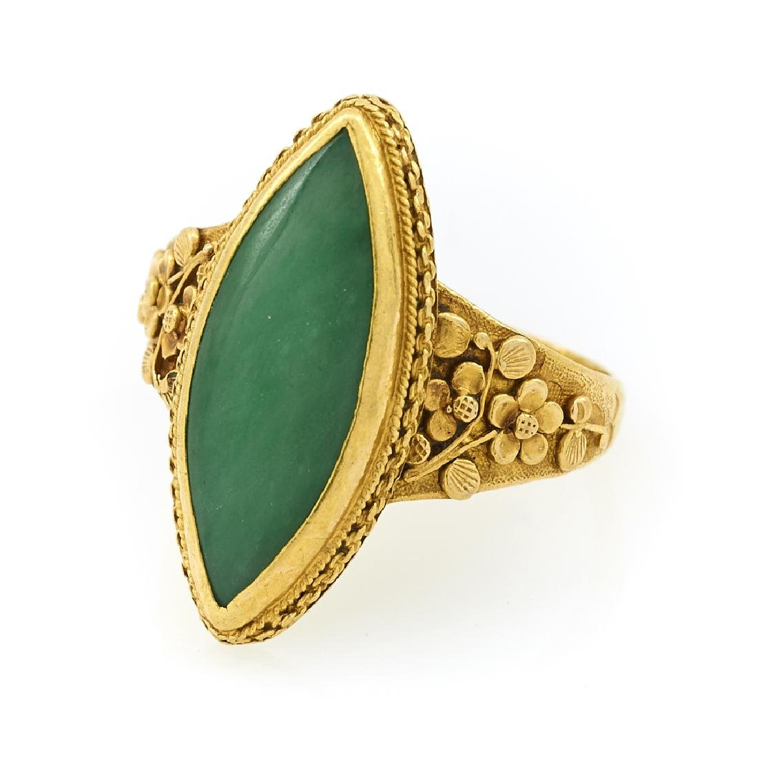 22k Yellow gold and jade ring.