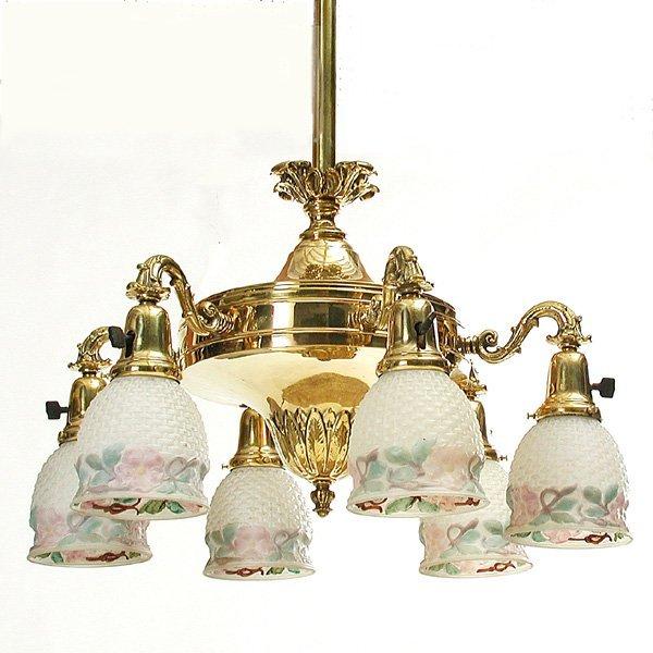 7: Victorian 6 Light Brass Chandelier