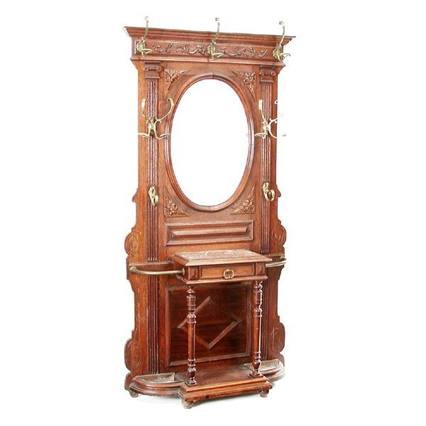 12: Victorian Oak & Marble Hall Stand