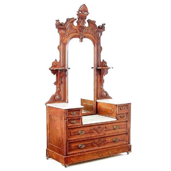 13: Victorian Walnut Marble Top Mirrored Dresser