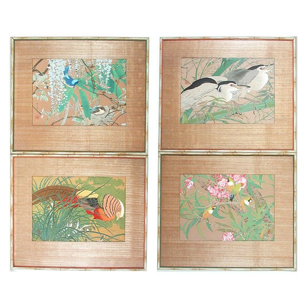 1: 4 Japanese Woodblocks Watercolored Tropical Birds