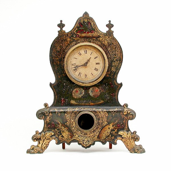 3: 19th C American Metal Mantle Clock