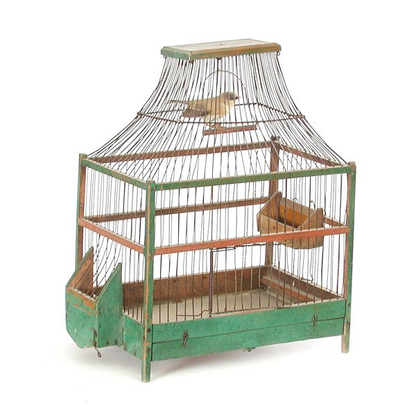 19: Victorian  Bird Cage Wire, Wood Feeders