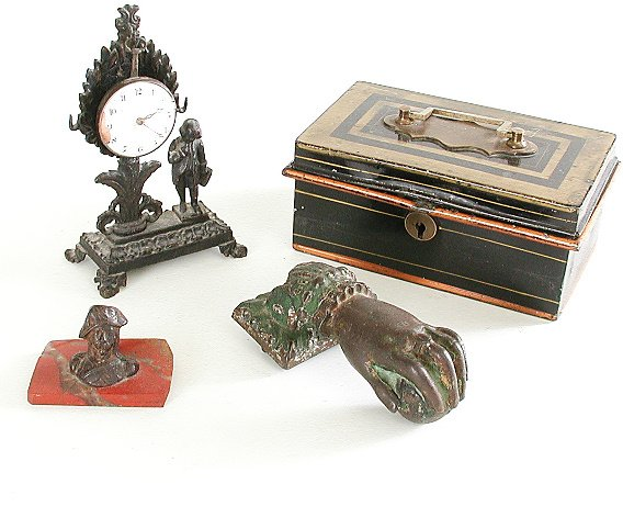 22: Iron Door Knocker, Victorian Bank Box, Watch, Sculp