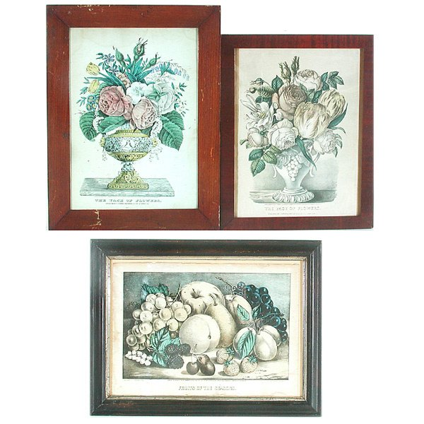 61: 3 Currier & Ives Botanical Prints