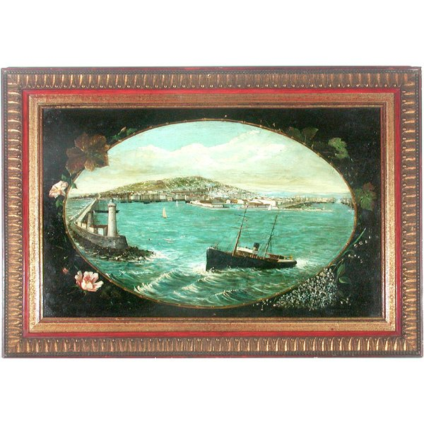 400: French School Ship Painting, Ship leaving harbor
