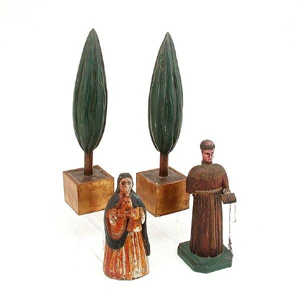 459: Pr. Wood Carvings Italian Cypress Trees