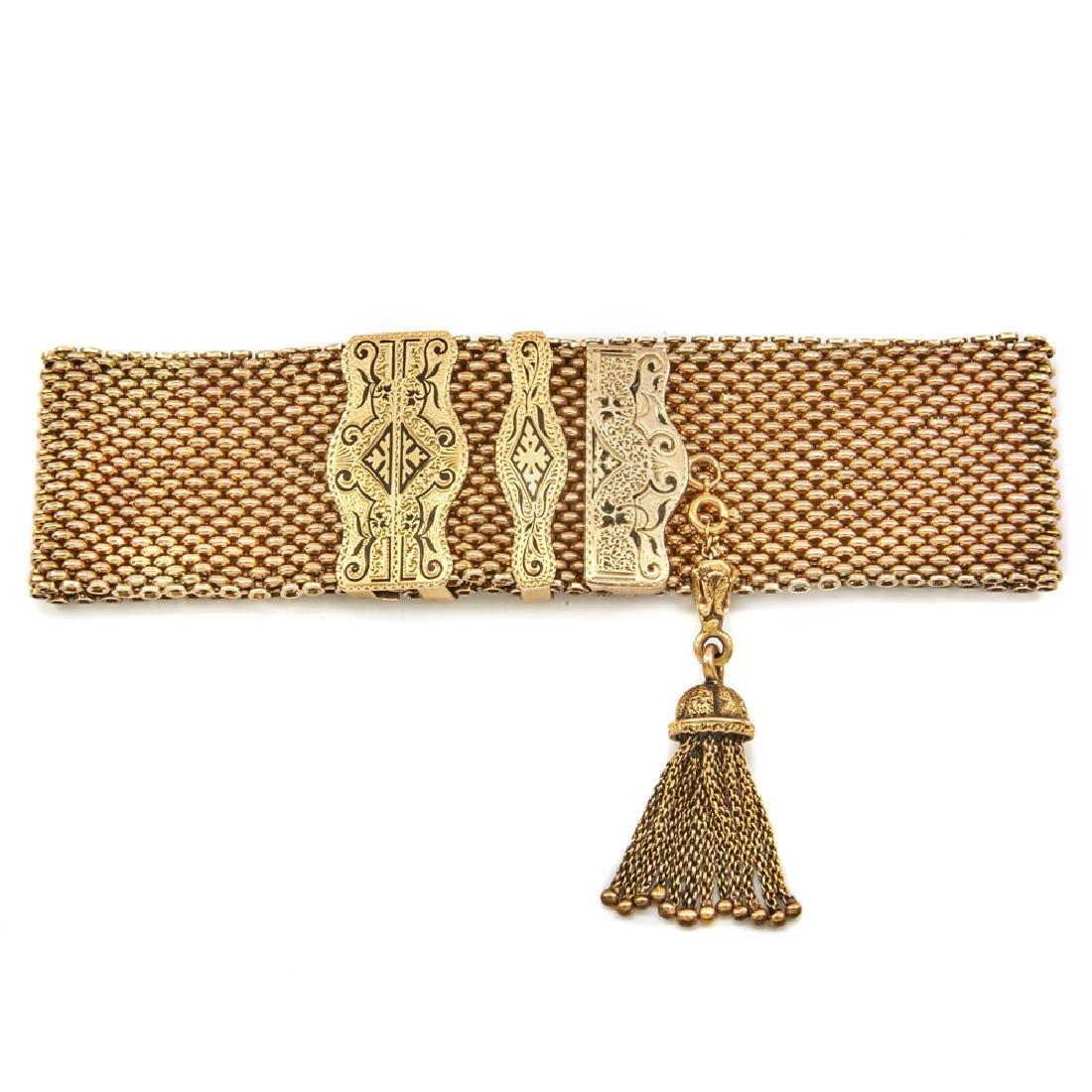 14k Yellow gold wide Victorian slide bracelet