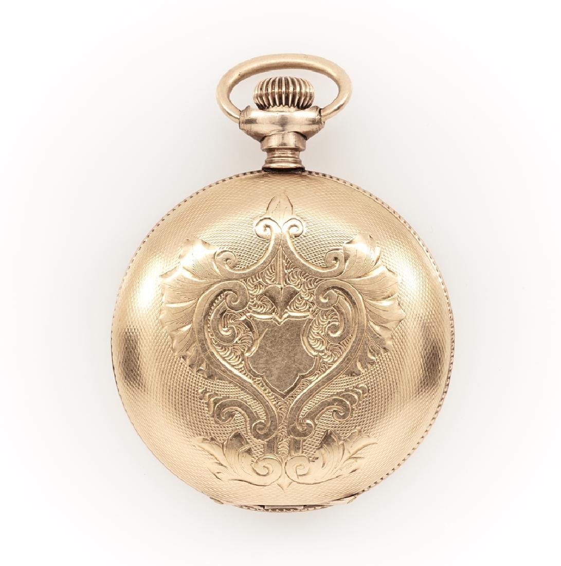 14k Yellow gold antique pocket watch with engraved case