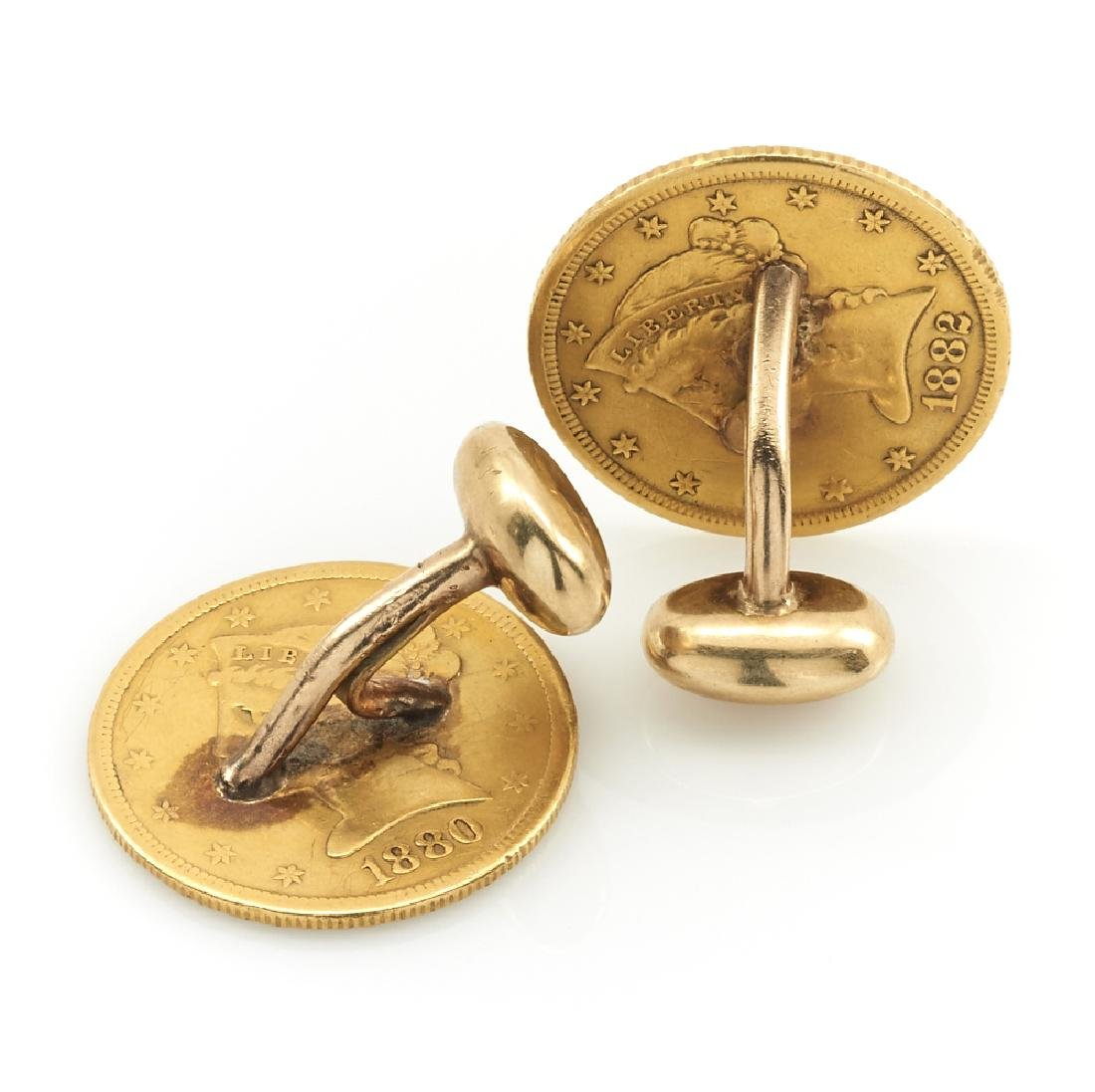 22k/18k five dollar gold coin Victorian cufflinks