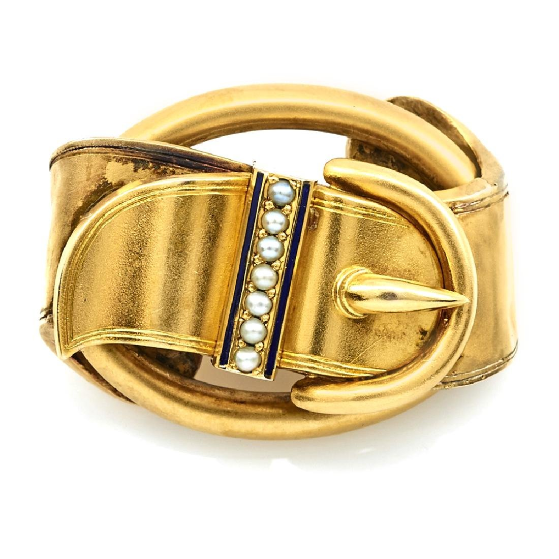 18k Yellow gold Victorian buckle brooch