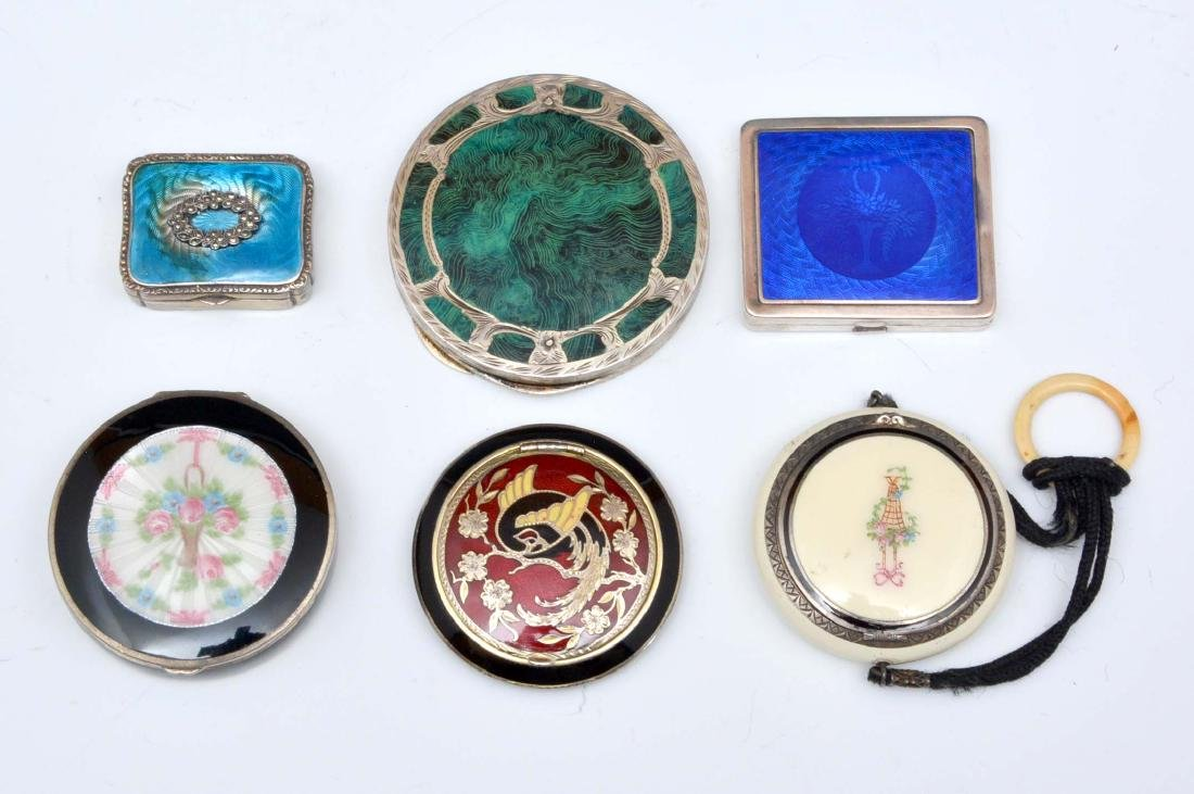 Grouping of six guilloche and enamel compacts