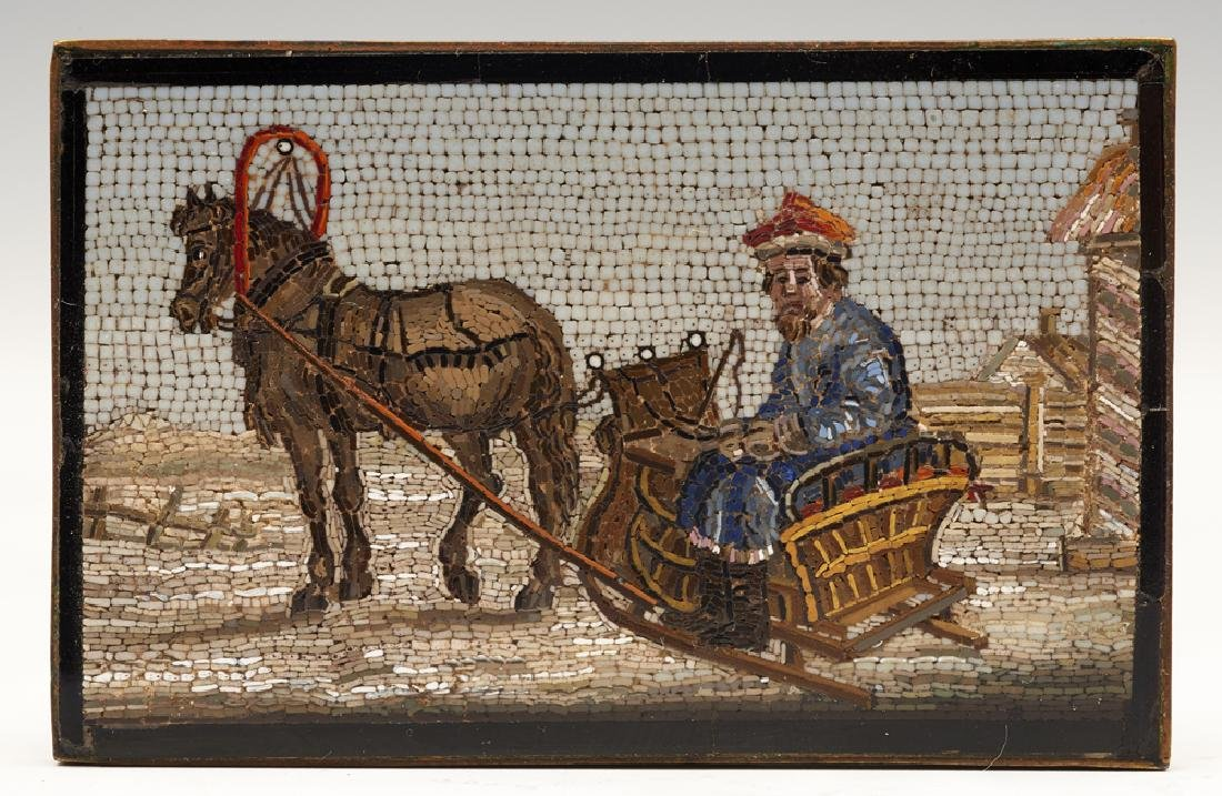 Micromosaic plaque depicting man in horse drawn sled