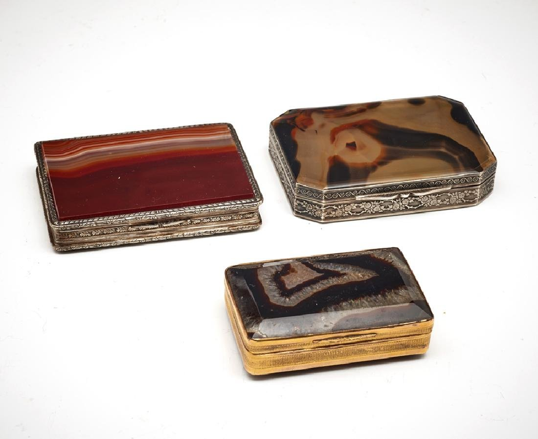 Grouping of three agate and silver trinket boxes