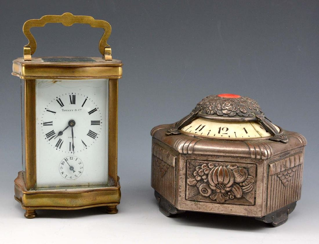 Grouping of two clocks, Tiffany, Gubelin