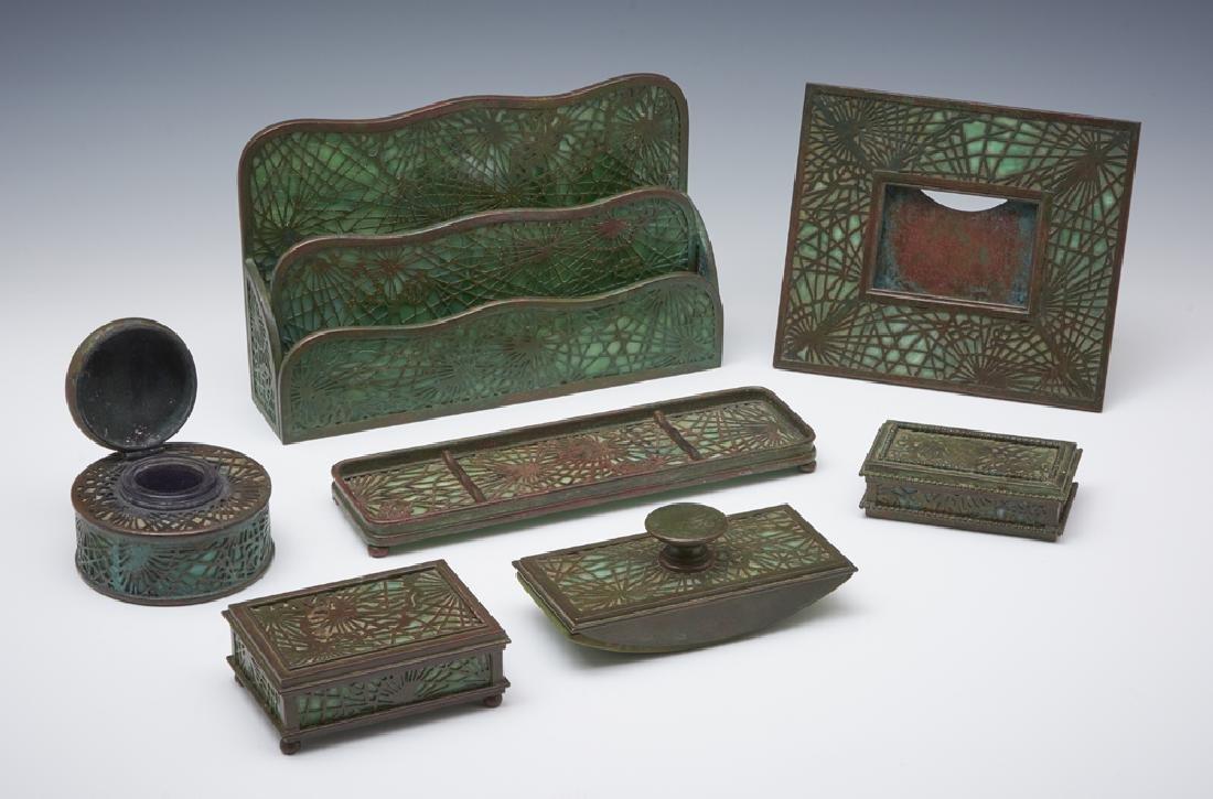 Tiffany Studios NY bronze pine needle desk set, 7 pcs